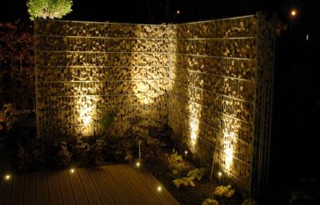 Steinzaun mit LED Beleuchtung